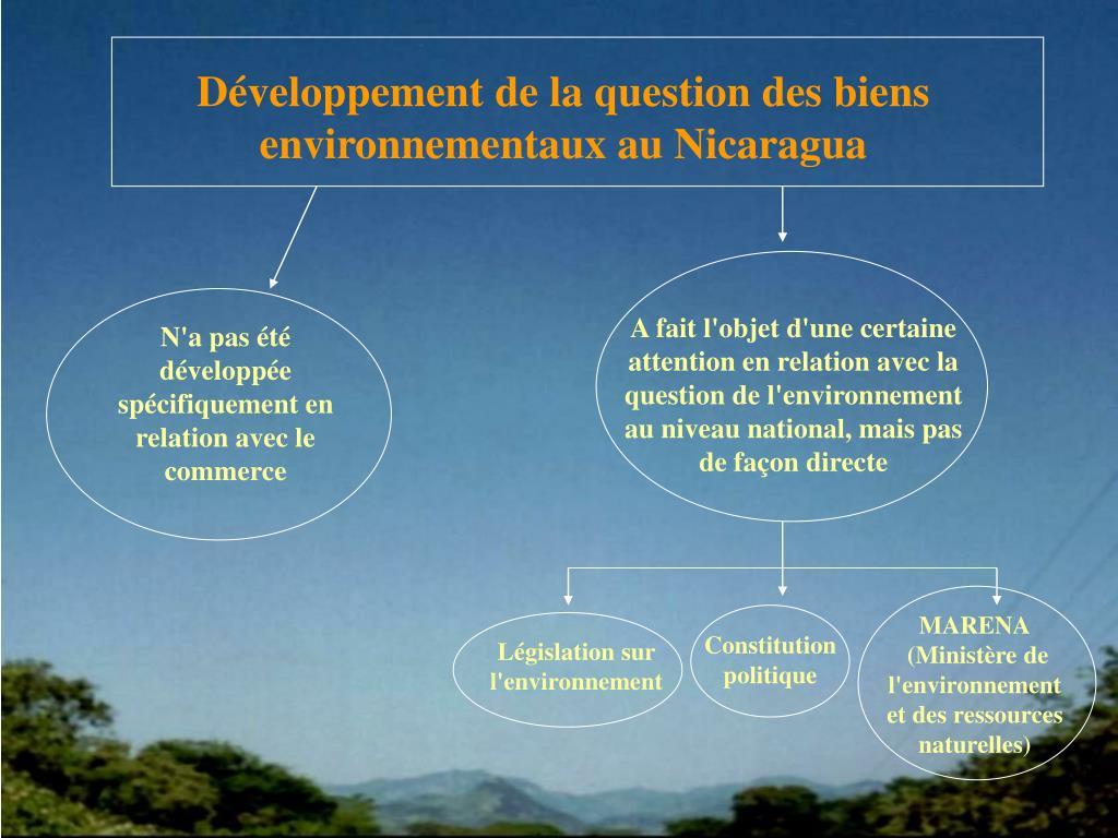 Développement de la question des biens environnementaux au Nicaragua