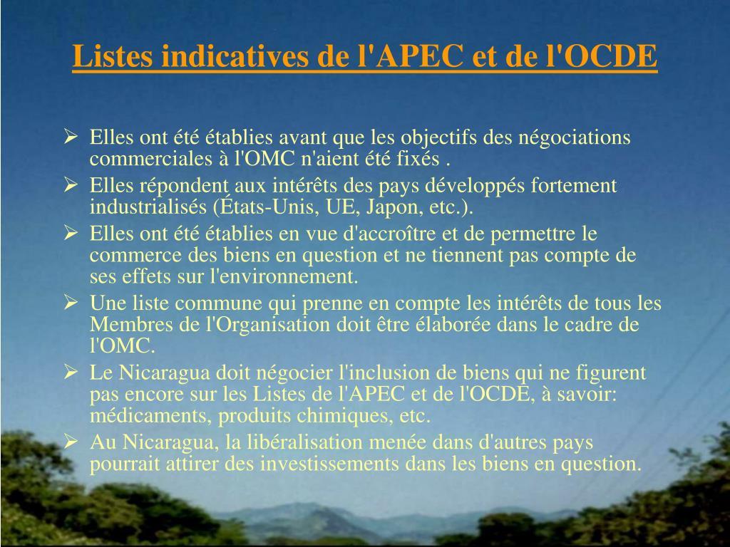 Listes indicatives de l'APEC et de l'OCDE