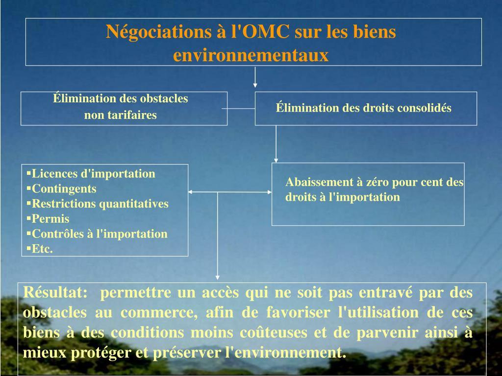 Négociations à l'OMC sur les biens environnementaux