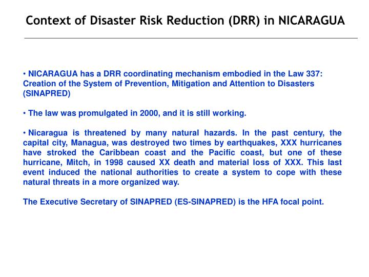 Context of disaster risk reduction drr in nicaragua