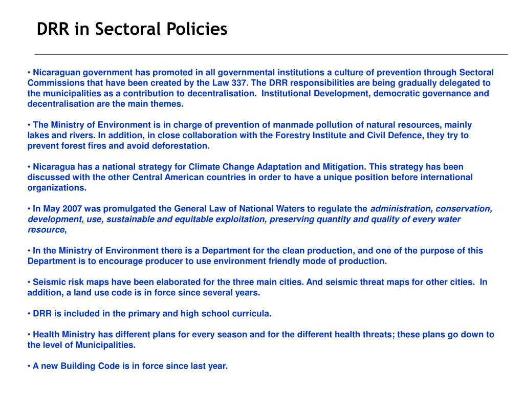 DRR in Sectoral Policies