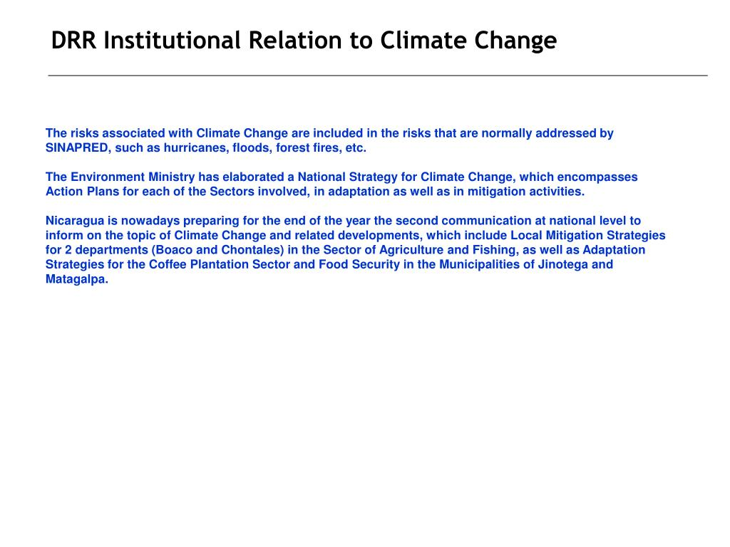 DRR Institutional Relation to Climate Change