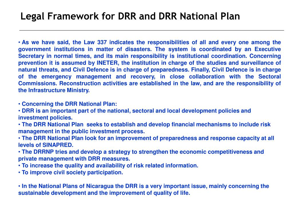 Legal Framework for DRR and DRR National Plan
