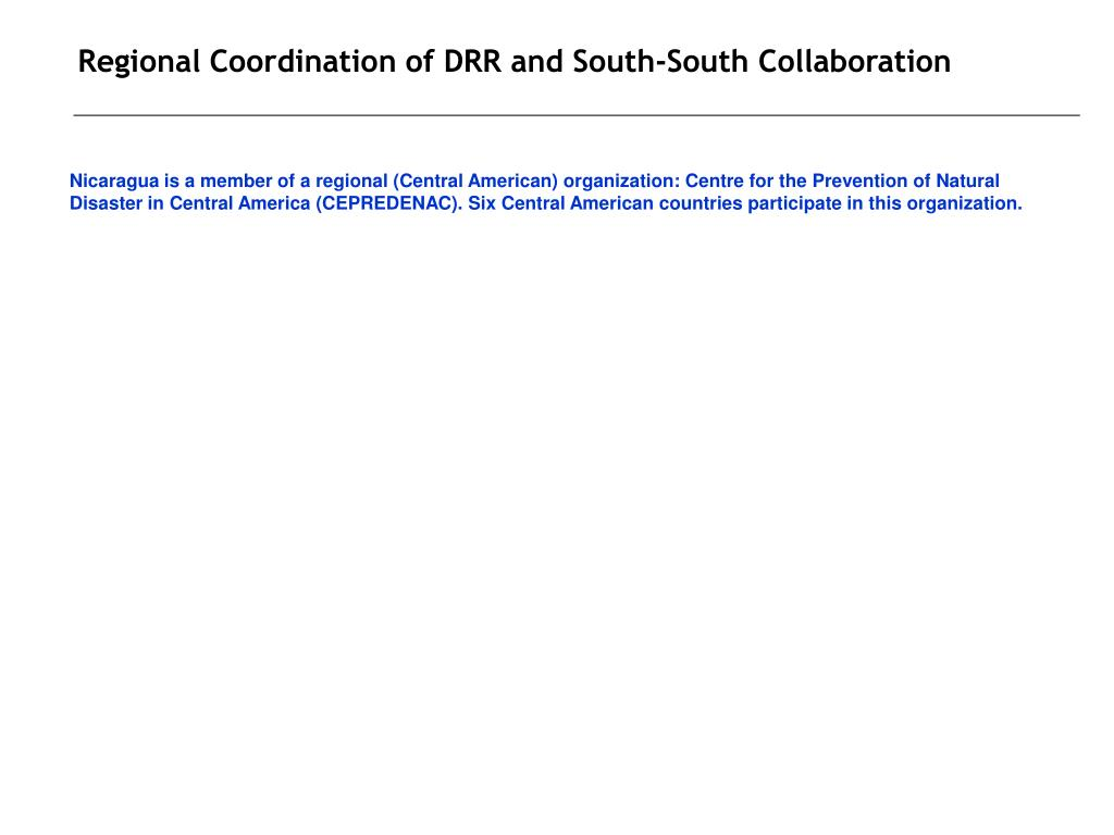 Regional Coordination of DRR and South-South Collaboration