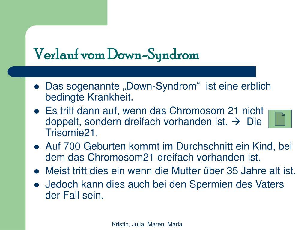 Verlauf vom Down-Syndrom
