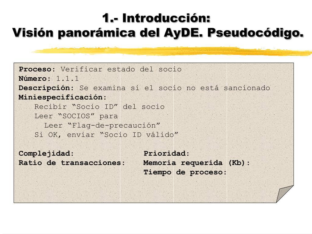 1.- Introducción: