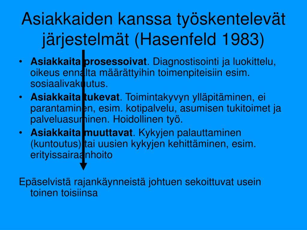 Asiakkaiden kanssa työskentelevät järjestelmät (Hasenfeld 1983)