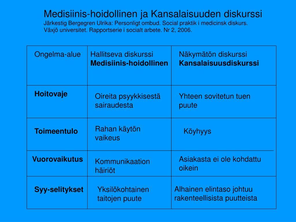 Medisiinis-hoidollinen ja Kansalaisuuden diskurssi