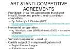 art 81anti competitive agreements