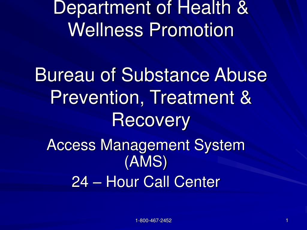 department of health wellness promotion bureau of substance abuse prevention treatment recovery