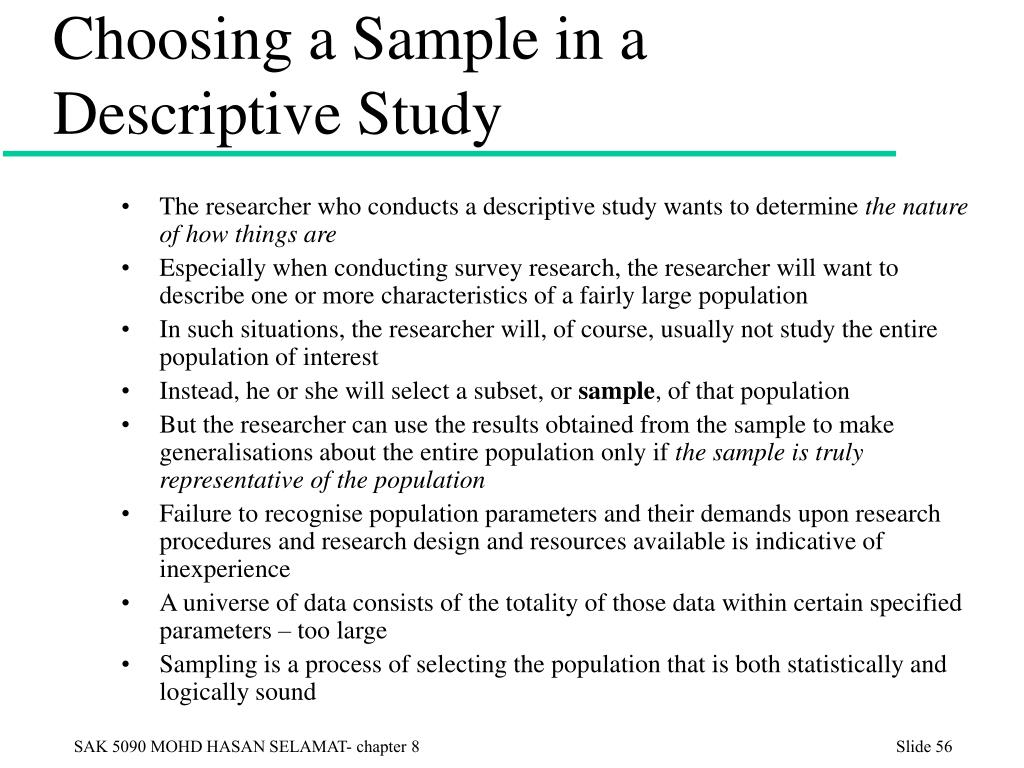 Choosing a Sample in a Descriptive Study
