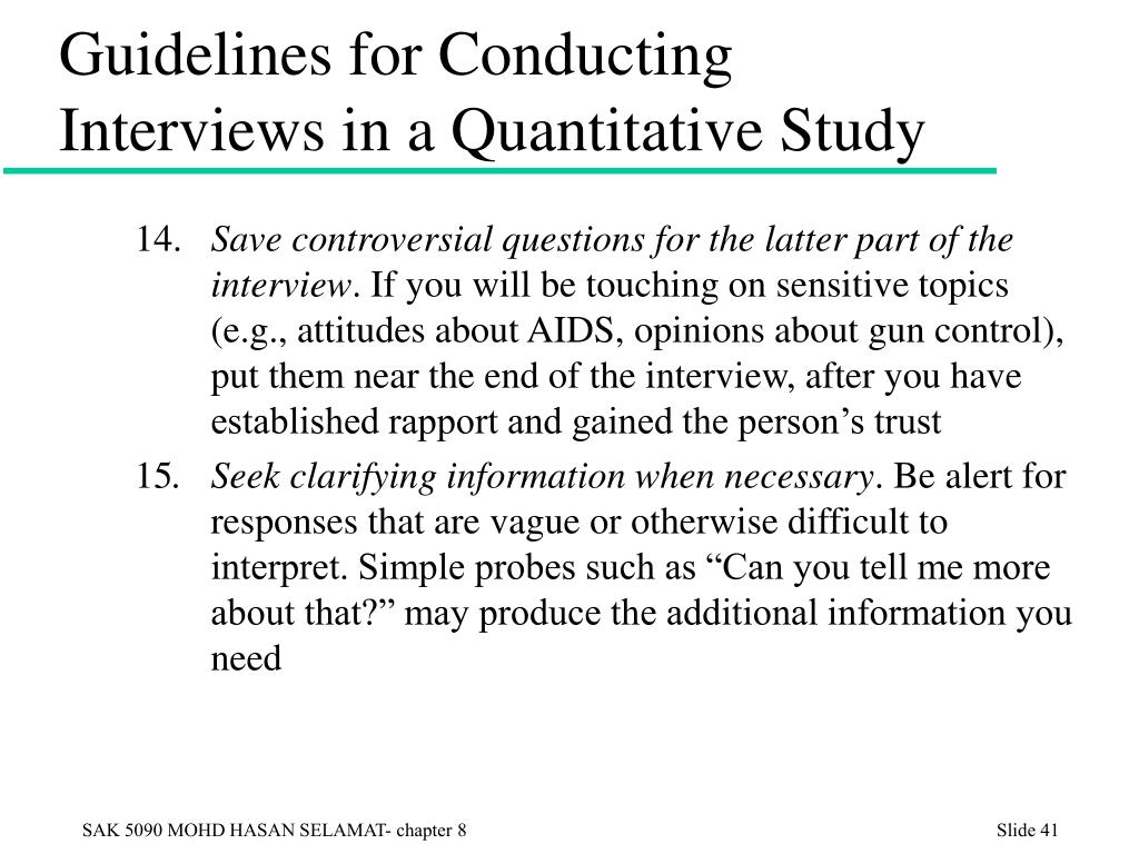 Guidelines for Conducting Interviews in a Quantitative Study