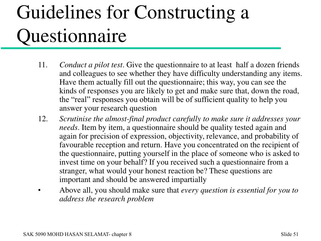 Guidelines for Constructing a Questionnaire