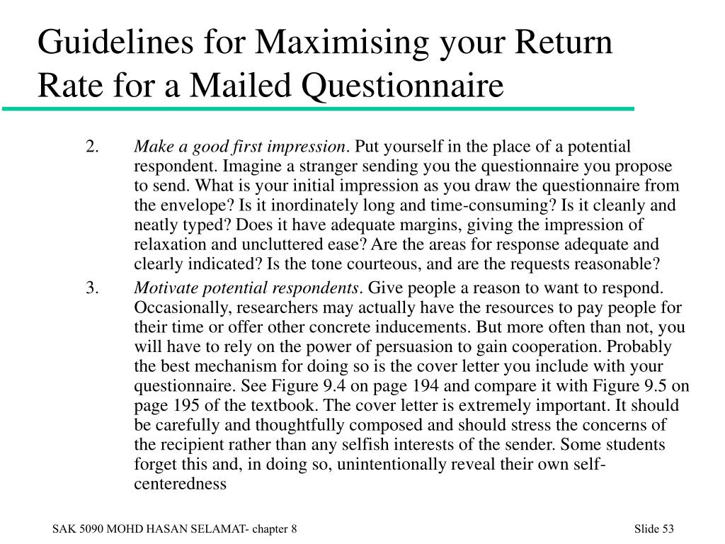 Guidelines for Maximising your Return Rate for a Mailed Questionnaire