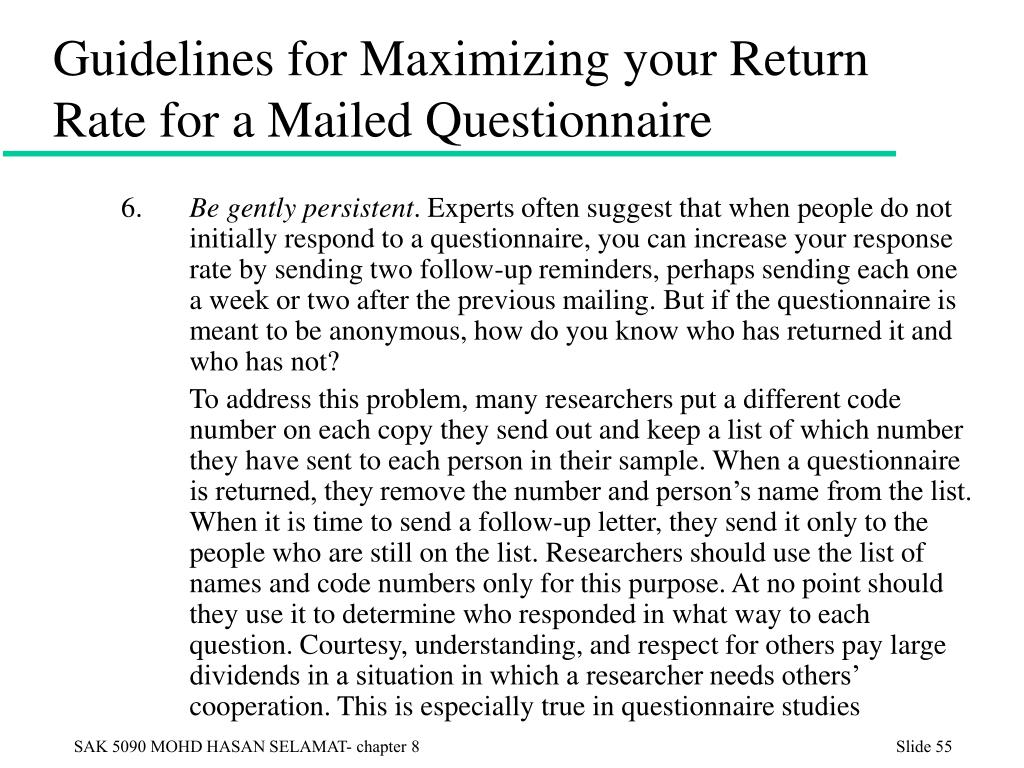 Guidelines for Maximizing your Return Rate for a Mailed Questionnaire