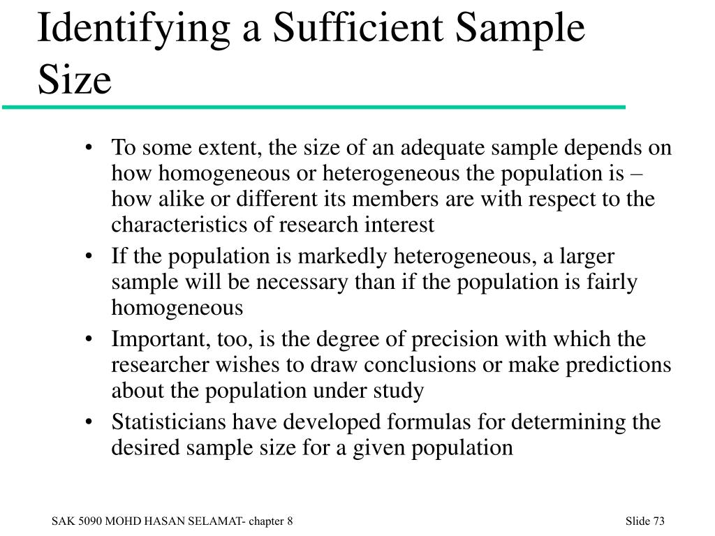 Identifying a Sufficient Sample Size