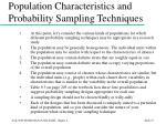 population characteristics and probability sampling techniques
