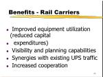 benefits rail carriers
