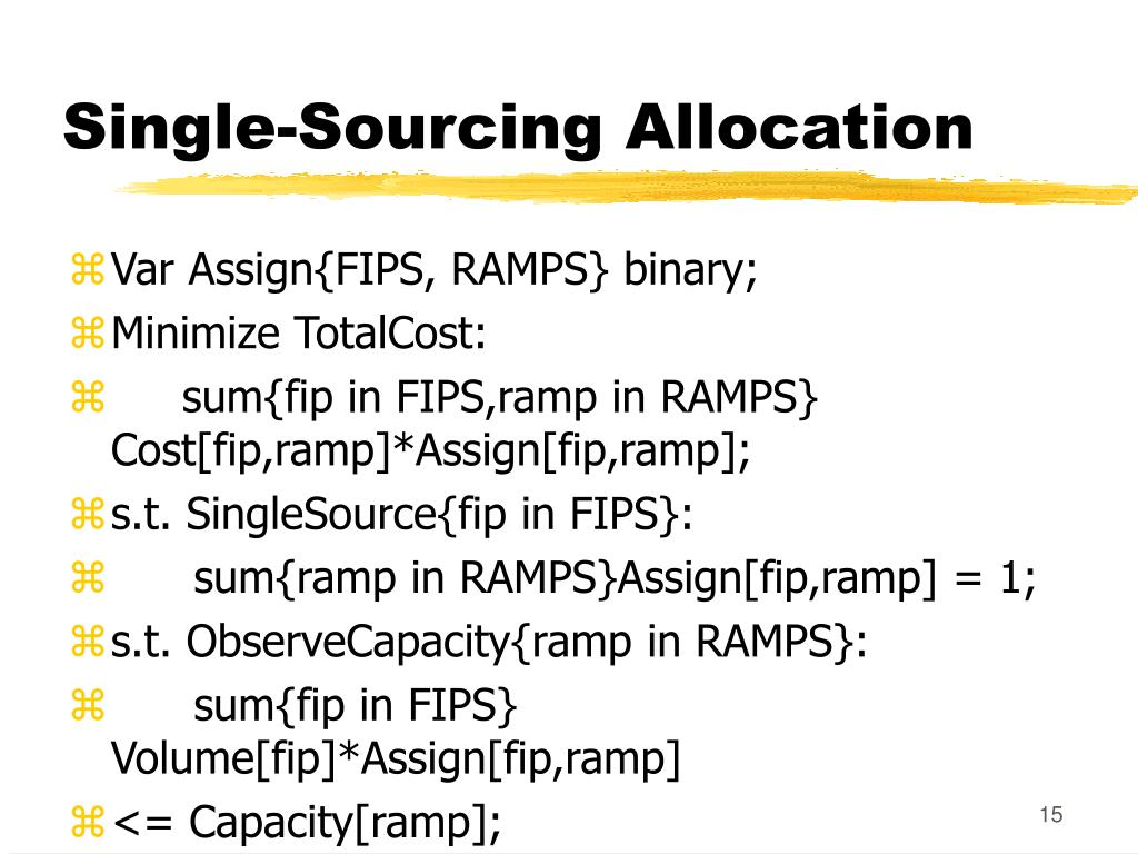 Single-Sourcing Allocation