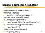 single sourcing allocation