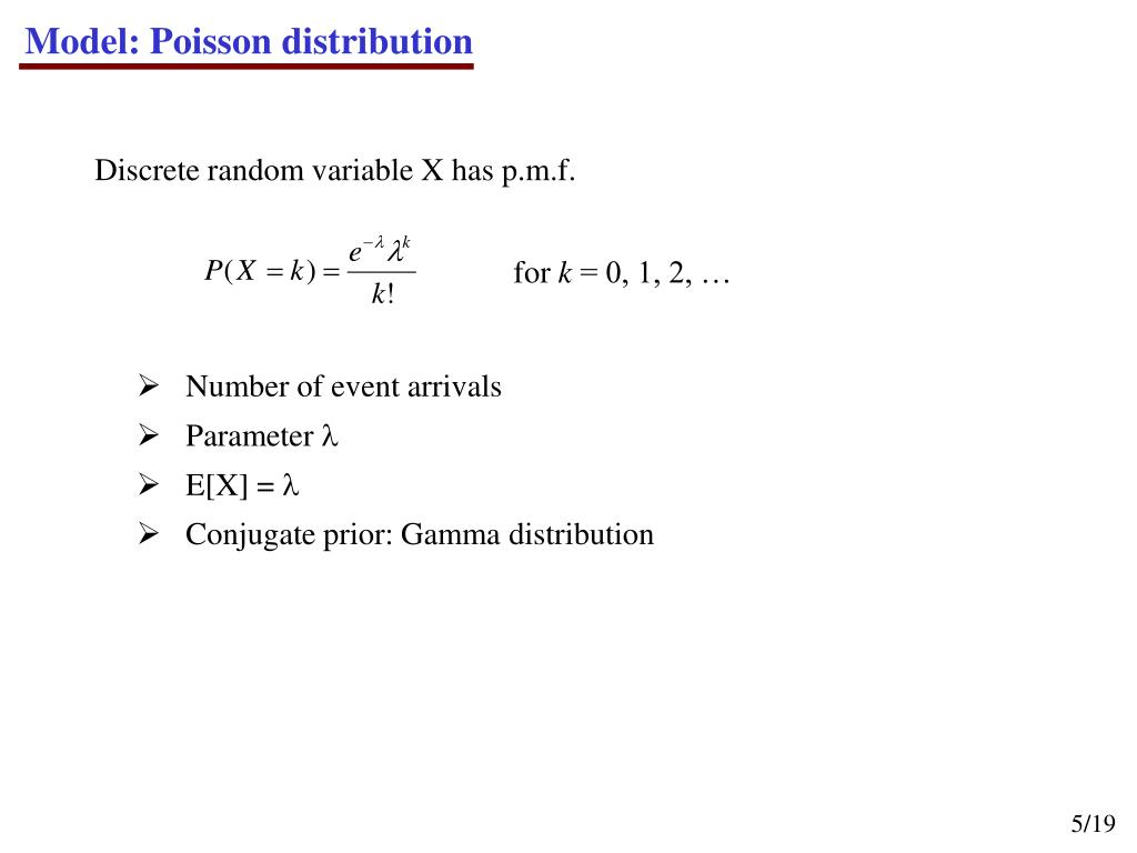 Model: Poisson distribution