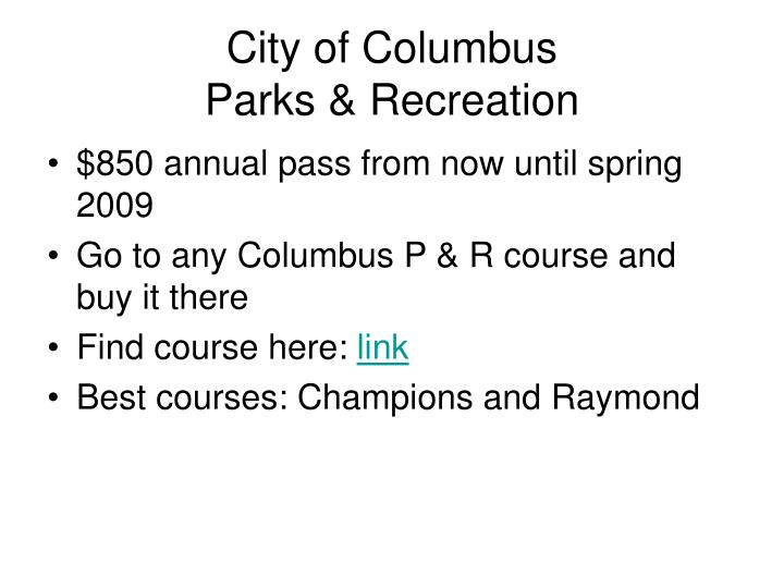 City of columbus parks recreation