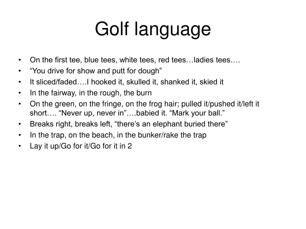 Golf language