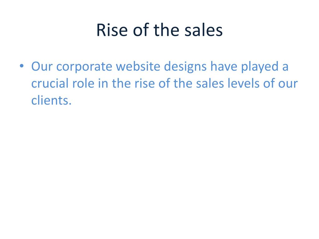 Rise of the sales