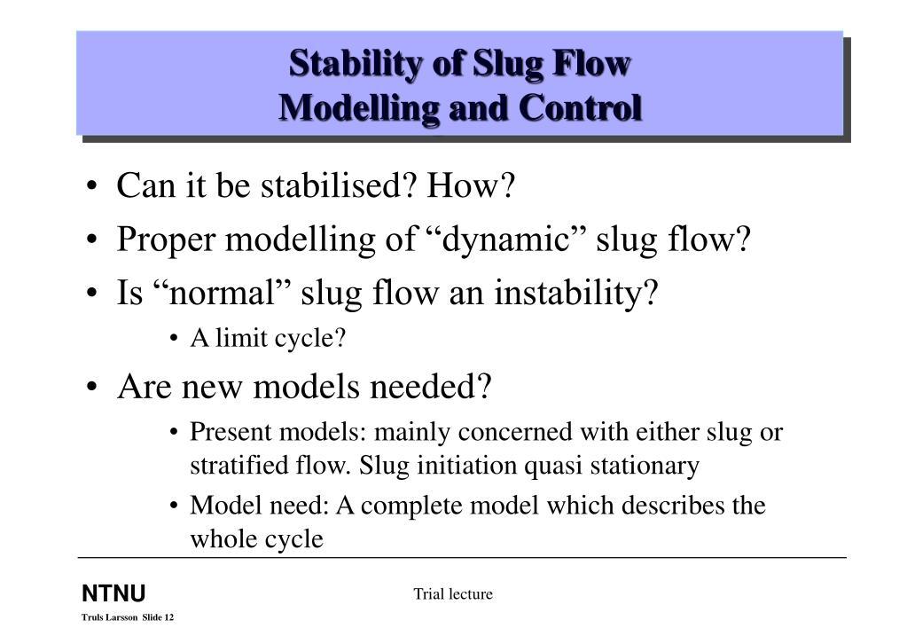 Stability of Slug Flow