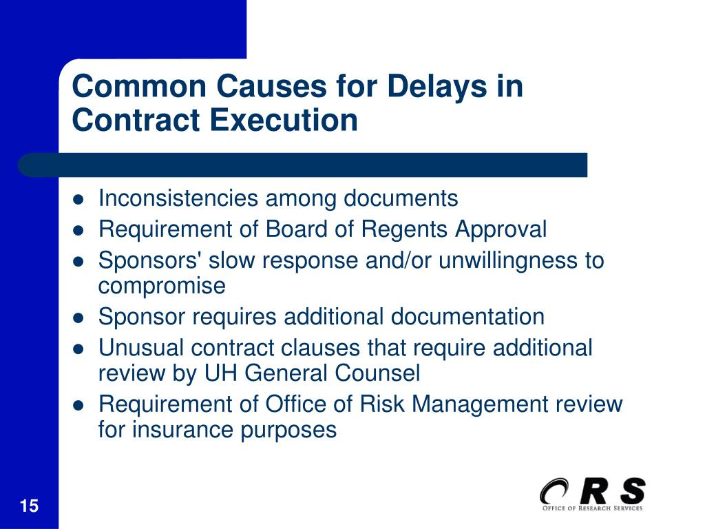 Common Causes for Delays in