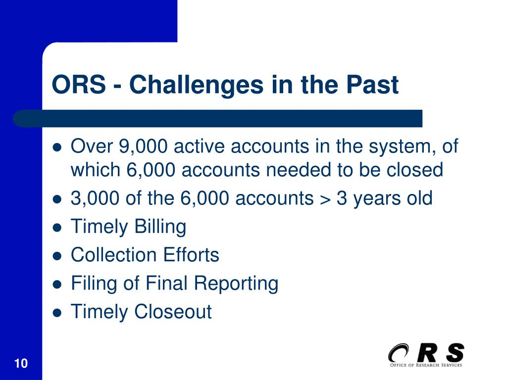 ORS - Challenges in the Past