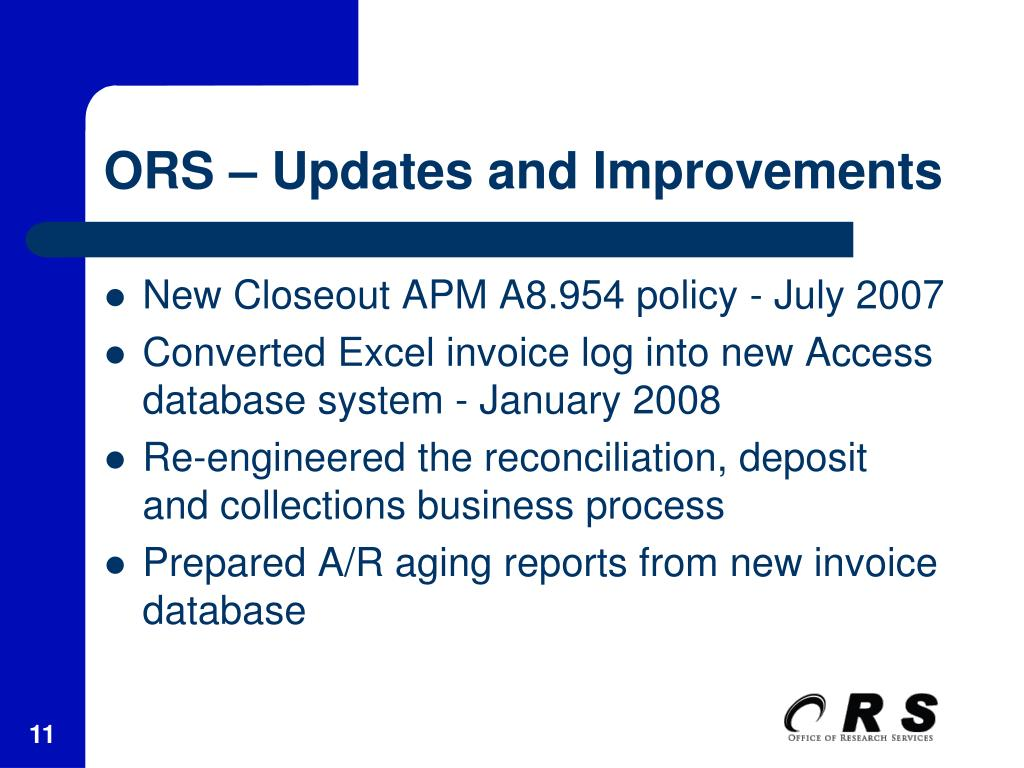 ORS – Updates and Improvements