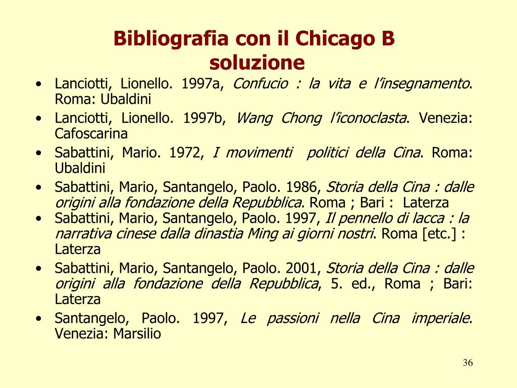 Bibliografia con il Chicago B
