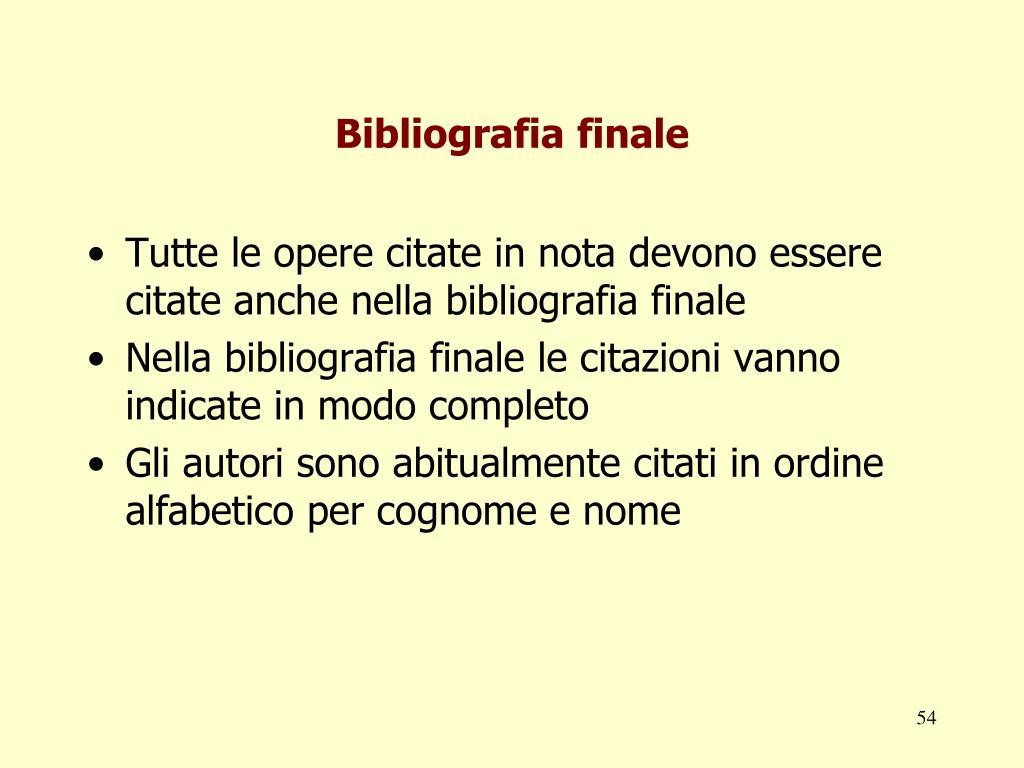 Bibliografia finale