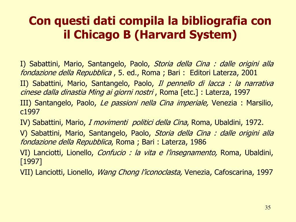 Con questi dati compila la bibliografia con il Chicago B (Harvard System)