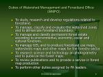 duties of watershed management and forestland office wmfo