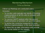 monitoring mechanism follow up meetings
