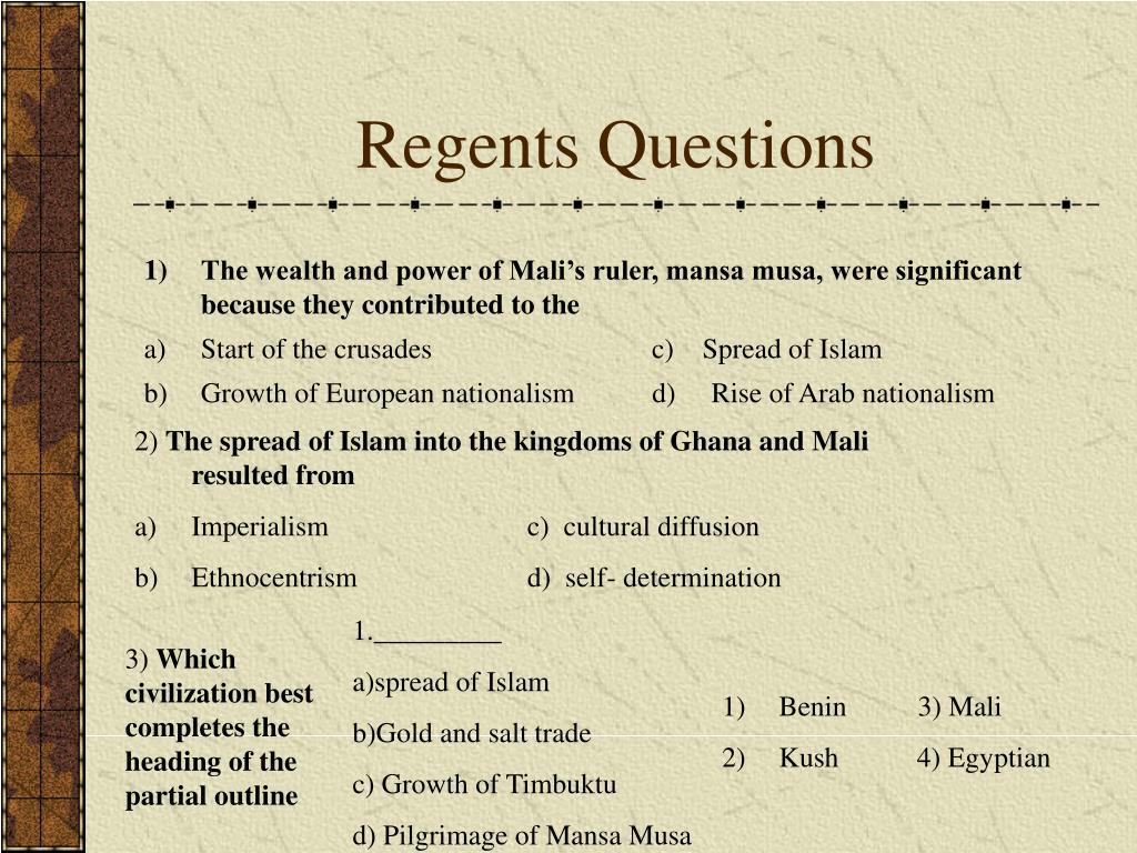 Regents Questions
