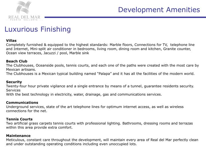 Development Amenities