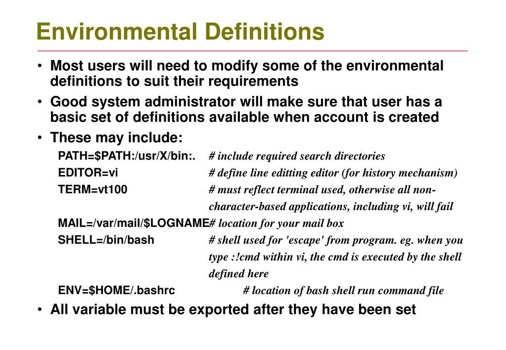 Environmental Definitions