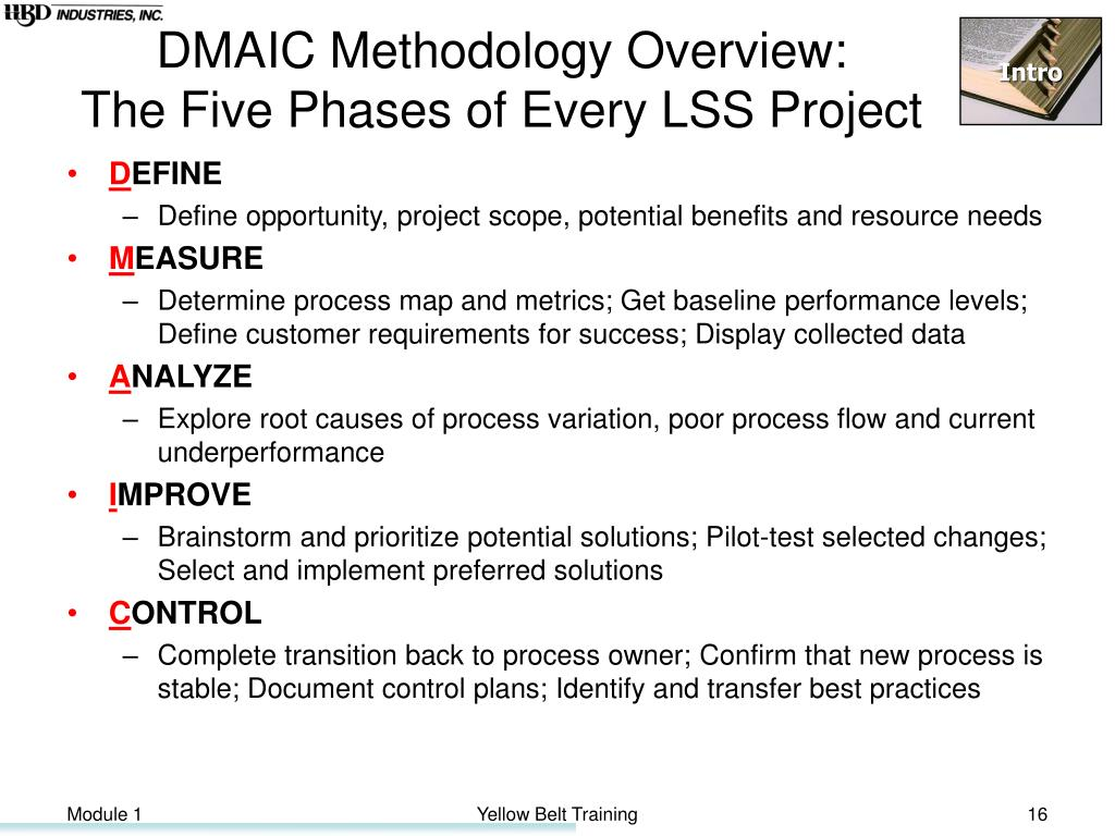 DMAIC Methodology Overview:
