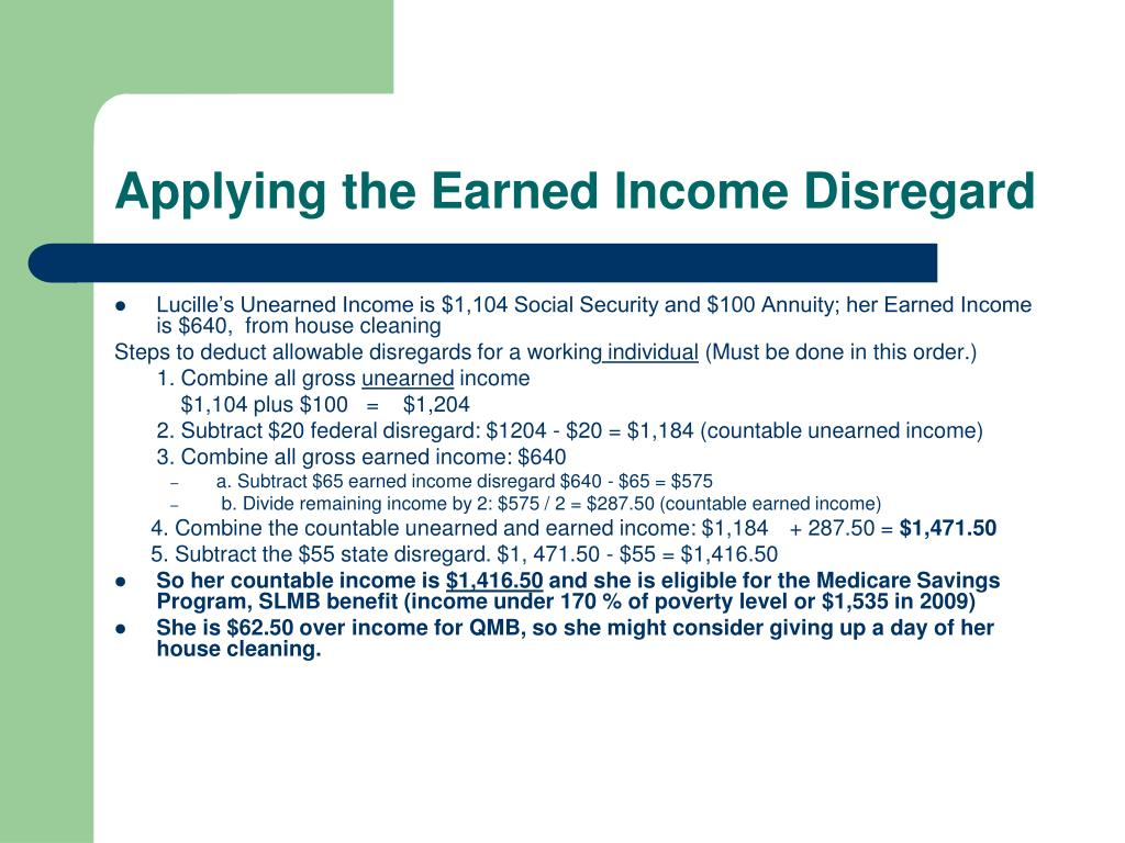 Applying the Earned Income Disregard
