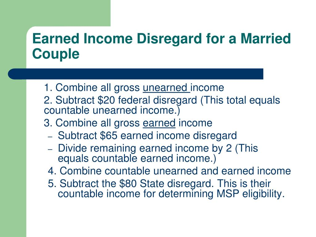 Earned Income Disregard for a Married Couple