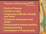 factors influencing ppp michael 2002