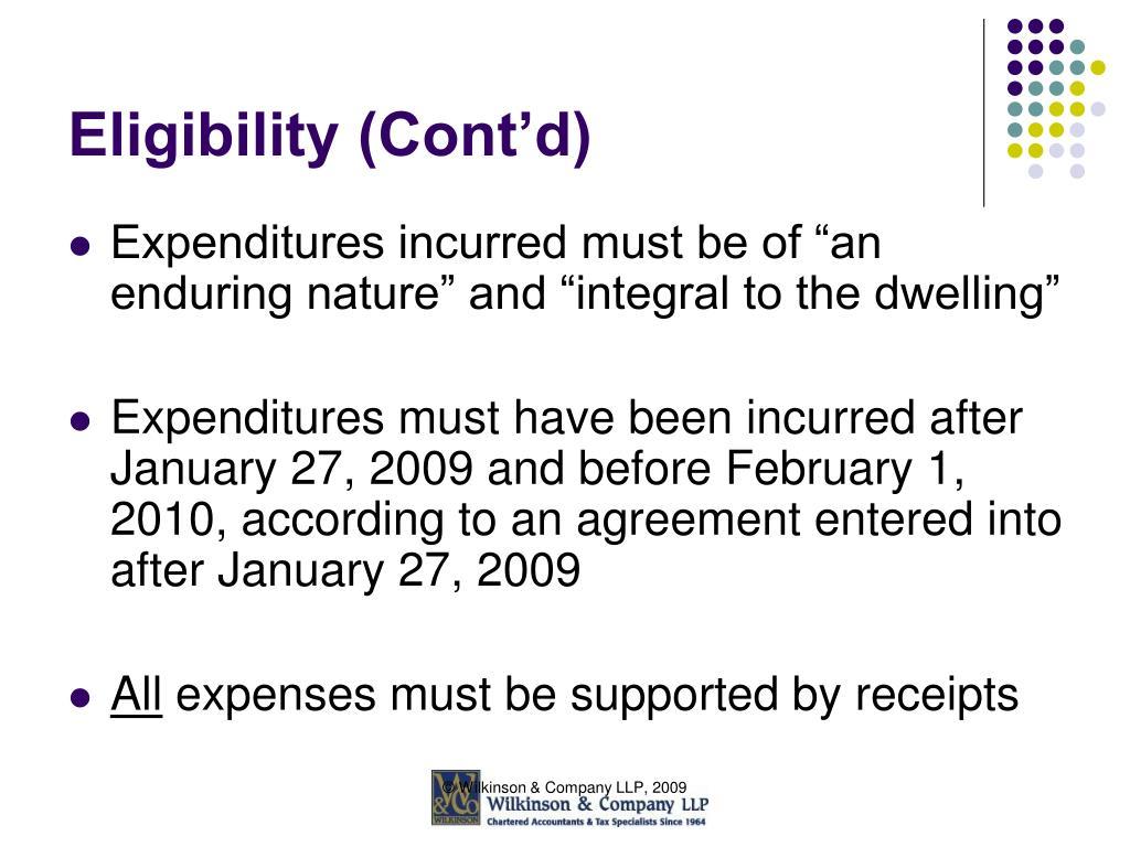 Eligibility (Cont'd)