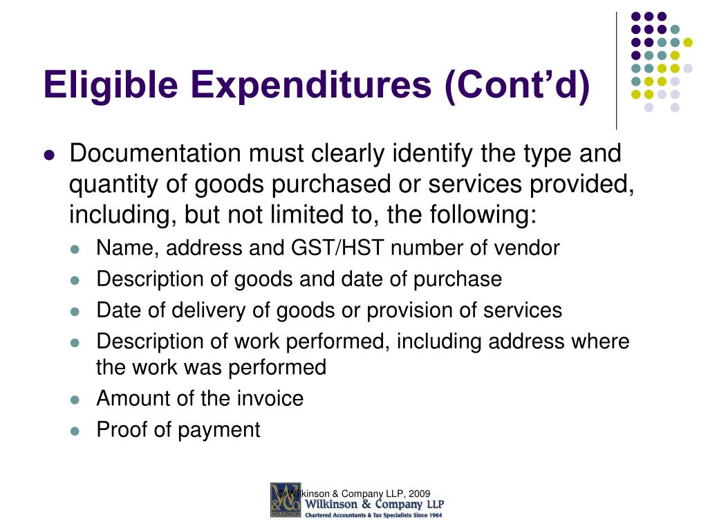 Eligible Expenditures (Cont'd)