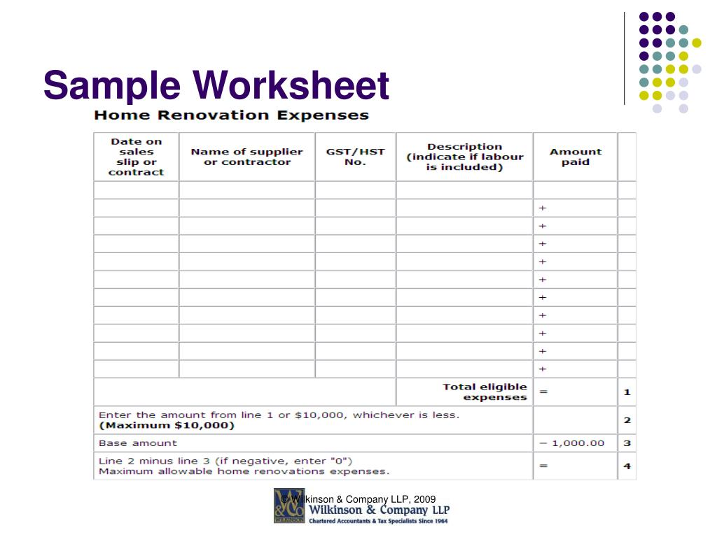 Sample Worksheet