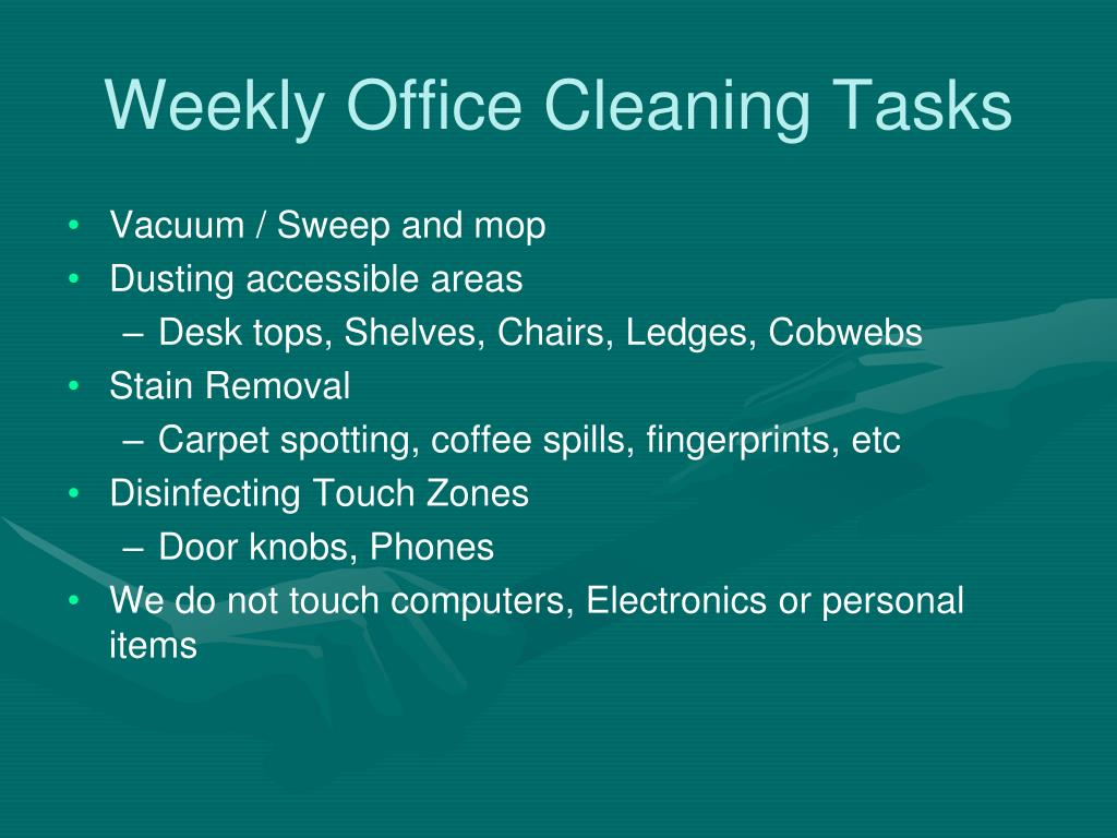 Weekly Office Cleaning Tasks
