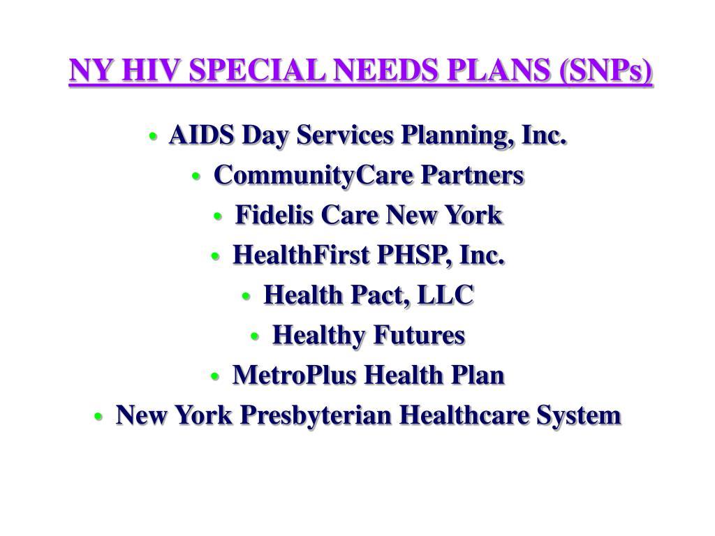 NY HIV SPECIAL NEEDS PLANS (SNPs)