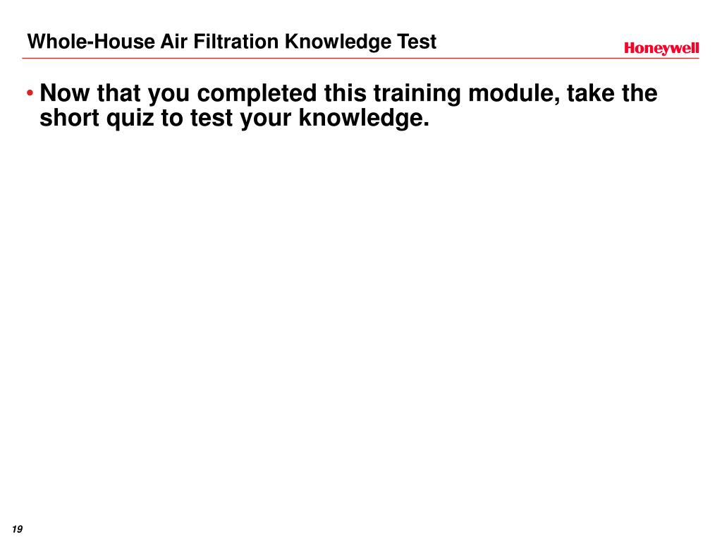 Whole-House Air Filtration Knowledge Test